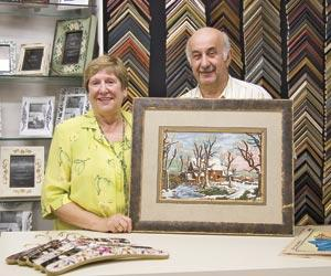 Gitta's husband Nathan Al-Basi crafts custom frames.